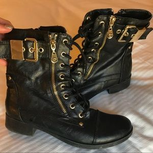 Black and Gold - Guess - Girly Combat Boots